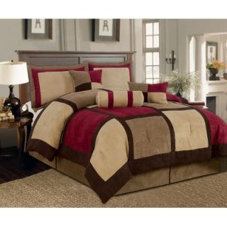 Textiles Plus Inc. Microsuede Patchwork Bed in a Bag 7 PC Comforter