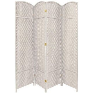 Oriental Furniture Diamond Weave 4 Panel Room Divider in White   FB