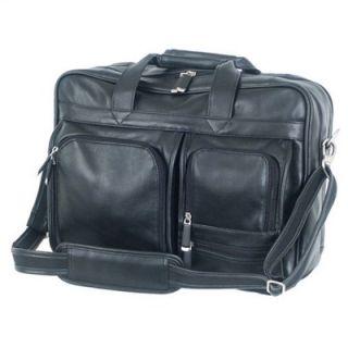 Mercury Luggage Sondrio Leather Multi Pocket Attache in Black