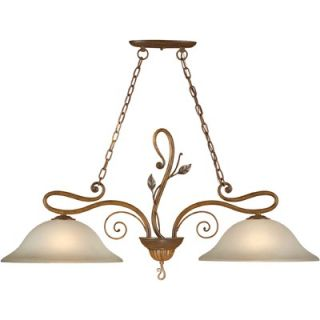 Forte Lighting Two Light Island Pendant with Umber Glass Shade in