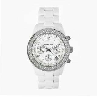 Michael Kors Womens White Acrylic Watch with Crystal