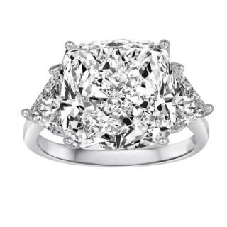 Diamonair Sterling Silver Cubic Zirconia Cushion Cut Ring