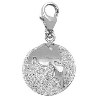 EZ Charms 14K White Gold Diamond Globe Charm