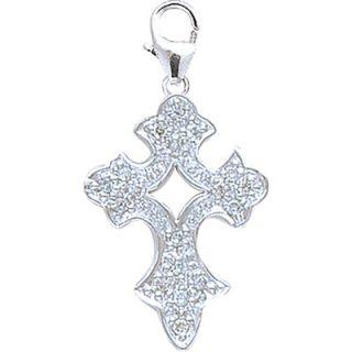 EZ Charms 14K White Gold Diamond Cross 3 Charm