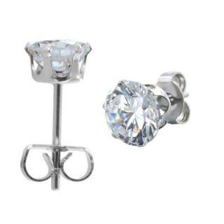 West Coast Jewelry Mens Round Cut Cubic Zirconia Stud Earrings