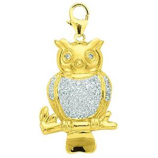 EZ Charms 14K 1.4 Grams Yellow Gold Diamond Owl Charm