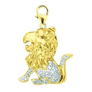 EZ Charms 14K 1.4 Grams Yellow Gold Diamond Lion Charm