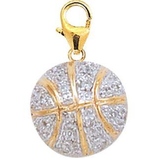 EZ Charms 14K Yellow Gold Diamond Basketball Charm