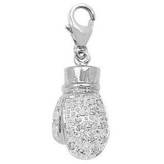 EZ Charms 14K White Gold Diamond Boxing Glove Charm