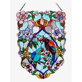 Chloe Lighting Tiffany Style Birds Design Window Panel with Seventeen