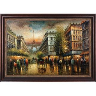 Hokku Designs Paris Memoir Hand Painted Oil Canvas Art with Frame