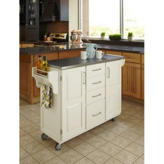 Crosley LaFayette Stainless Steel Top Portable Kitchen Island in White