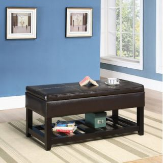 Hazelwood Home Faux Leather Storage Bench   200 1612