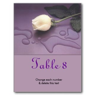 White Rose Wedding Table Number Postcard