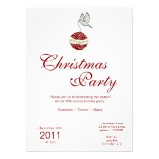 Christmas Holiday Bird With Ornament Invitations