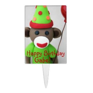 Sock Monkey Happy Birthday with Red Balloon Cake Pick