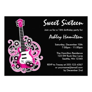 Guitar Rock Star Sweet 16 Birthday Party Hot Pink Custom Invitation