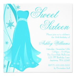 Teal Swirl Dress Winter Wonderland Sweet 16 Personalized Announcement