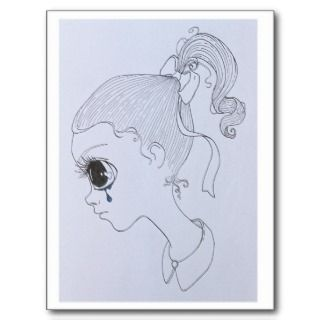 sad girl art postcard