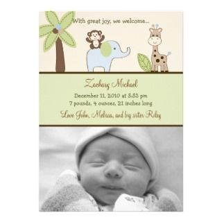 Baby Safari Jungle Animal Birth Announcements