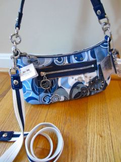 COACH Poppy Blue Jean Denim Signature Groovy Bag Handbag Crossbody