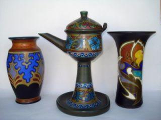 Antique Gouda Plazuid Art Pottery Vase Grotius Design Holland 1929