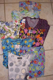 Womens Scrub Tops Lot of 8 Size Large