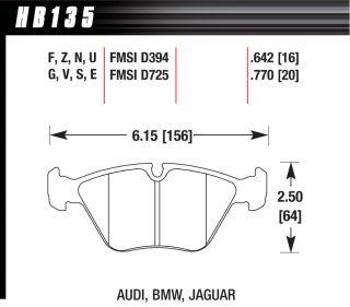 Hawk HPS F&R Brake Pads HB135F.642 HB271F.635