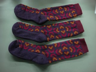 Womens Goodhew Merino Wool Blend Sock 9 12 Purple Pinks 3 PR 285