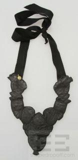 Bergdorf Goodman Black Leather Stone Jewel Detail Bib Necklace