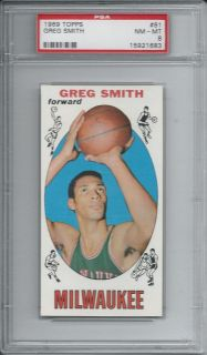 Greg Smith 1969 1969 70 Topps Card 81 PSA 8 NM MT Milwaukee Bucks