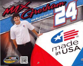 2012 MAX GRESHAM MADE IN USA #24 NASCAR CAMPING WORLD TRUCK SERIES