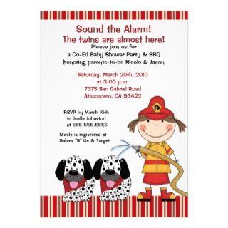 Engine 27 Fire Truck Puppy Baby Shower Invitations