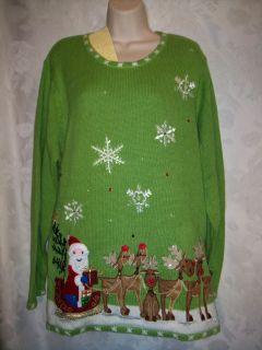 Quacker Factory Fiber Optic Green Christmas Sweater Size 1x