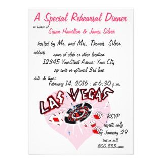 Rehearsal Dinner Casino Theme Pink Heart Custom Announcements