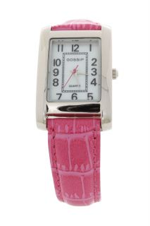 Gossip Silvertone Rectangle Case Primary Color Pink Strap Watch