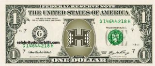 Hawaii Rainbow Warriors College Dollar Bill Uncirculated Mint US