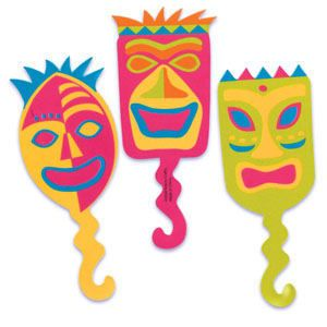 Hawaiian Luau Tiki Mask Cupcake Picks Cake Toppers 24