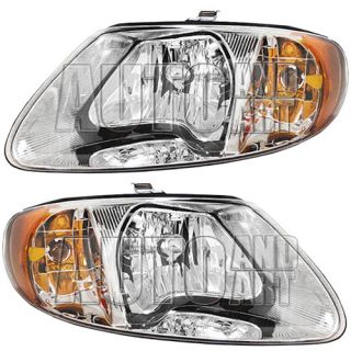 New Pair Set Headlight Headlamp Lens Housing SAE DOT Chrysler Dodge