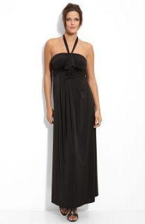 New Olian Maternity Venicia Maxi Dress Halter Black S