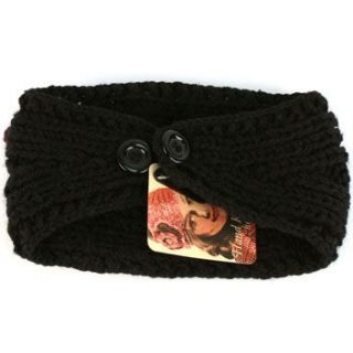 Adjustable Hand Knit Handmade Wide Headwrap Headband Ski Black