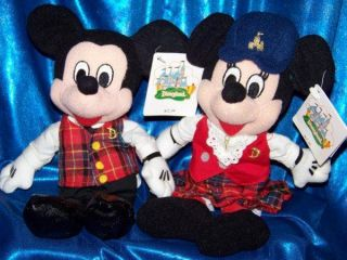 TOUR GUIDE MICKEY MOUSE & MINNIE SET Stuffed Plush 8 Bean bag DISNEY