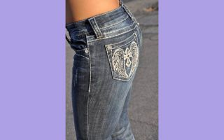 Grace in La Skinny Jeans Dark Blue Wing Design Fastn