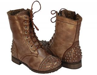 WOMEN FASHION Combat Army Military Riding Boot BROWNS Studded MID