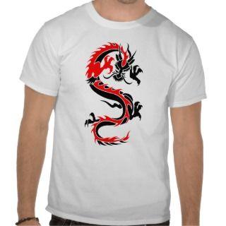 Cool Tribal Red Dragon Tattoo Designs Custom Art T Shirts