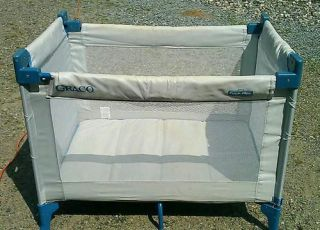 Graco Pack Play Playpen Play Yard Travel Portable with Case Blue Grey