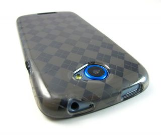 Smoke Plaid Hard Gel Candy Skin Case Cover HTC One s Tmobile Phone