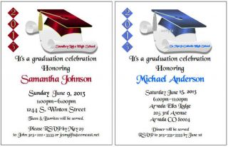 Graduation Cap Diploma Scroll Personalized Party Invitations