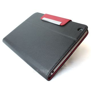 Black Red Flip Wallet PU Leather Cover Case magnetic flap For Apple