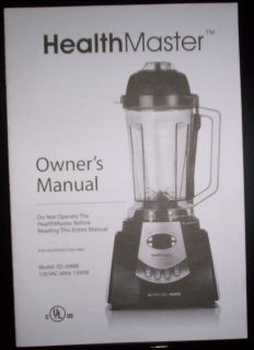 Montel Williams Living Well Healthmaster Blender Owners Manual Model
